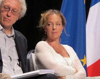 Un cénacle d'abord composé des directeurs de grands festivals et scènes nationales en région. Ici Bernard Foccroulle (Festival d'Aix) et Irina Brook ( Théâtre National de Nice) Photo MN