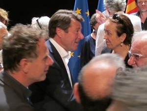 Acteurs culturels de gauche dans des villes de droite, qui ont compté pour éviter le FN : ici Charles Berling (Théâtre Liberté de Toulon et Christian Estrosi) Photo MN